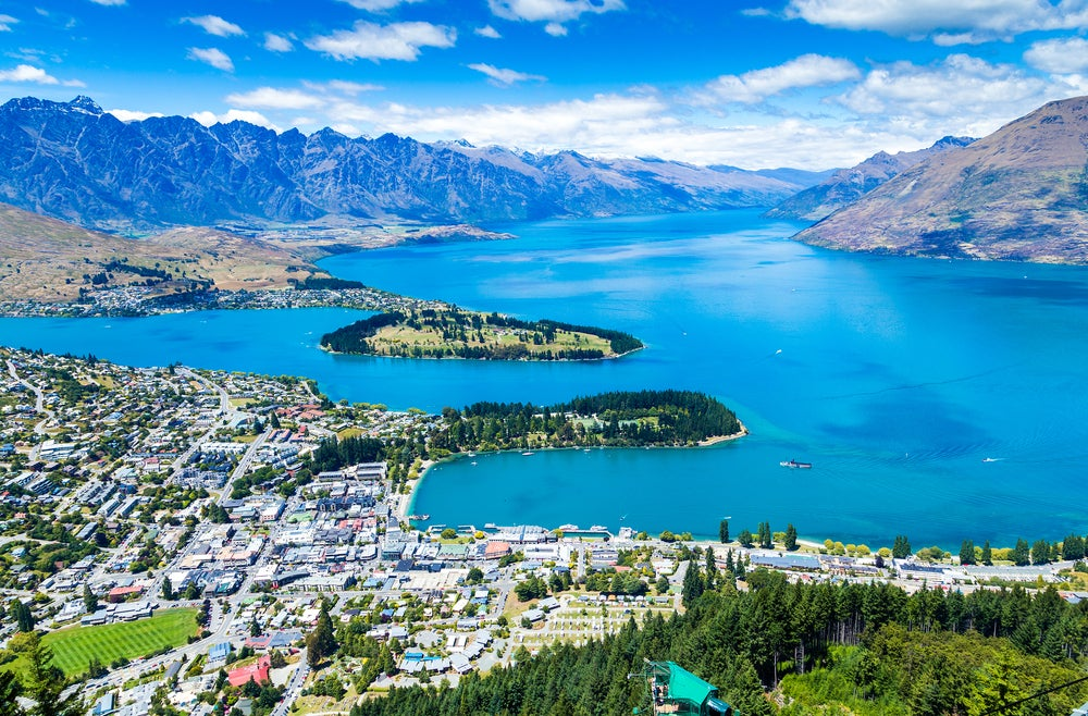 Vista de Queenstown en Nueva Zelanda