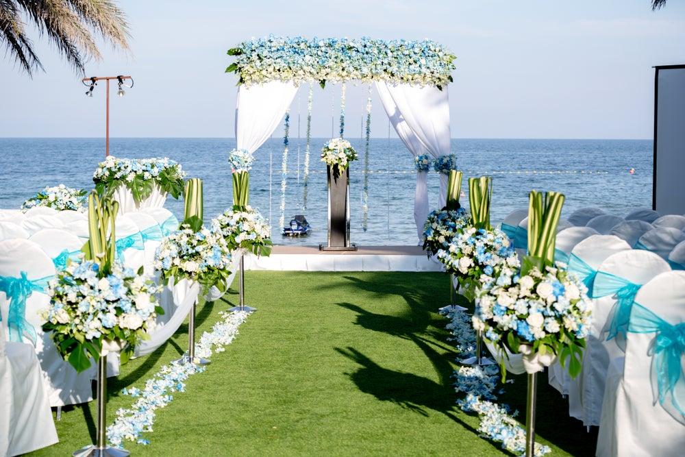 Jardín preparado para una boda