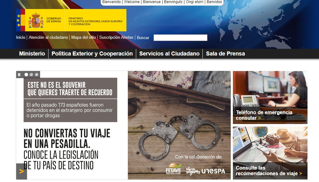 Web del Ministerio de Asuntos Exteriores