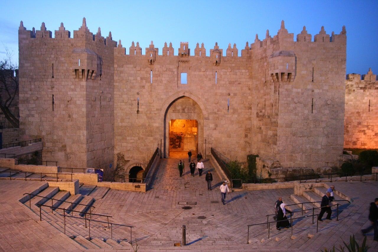 Puerta de Damasco en la ciudad de Jerusalén