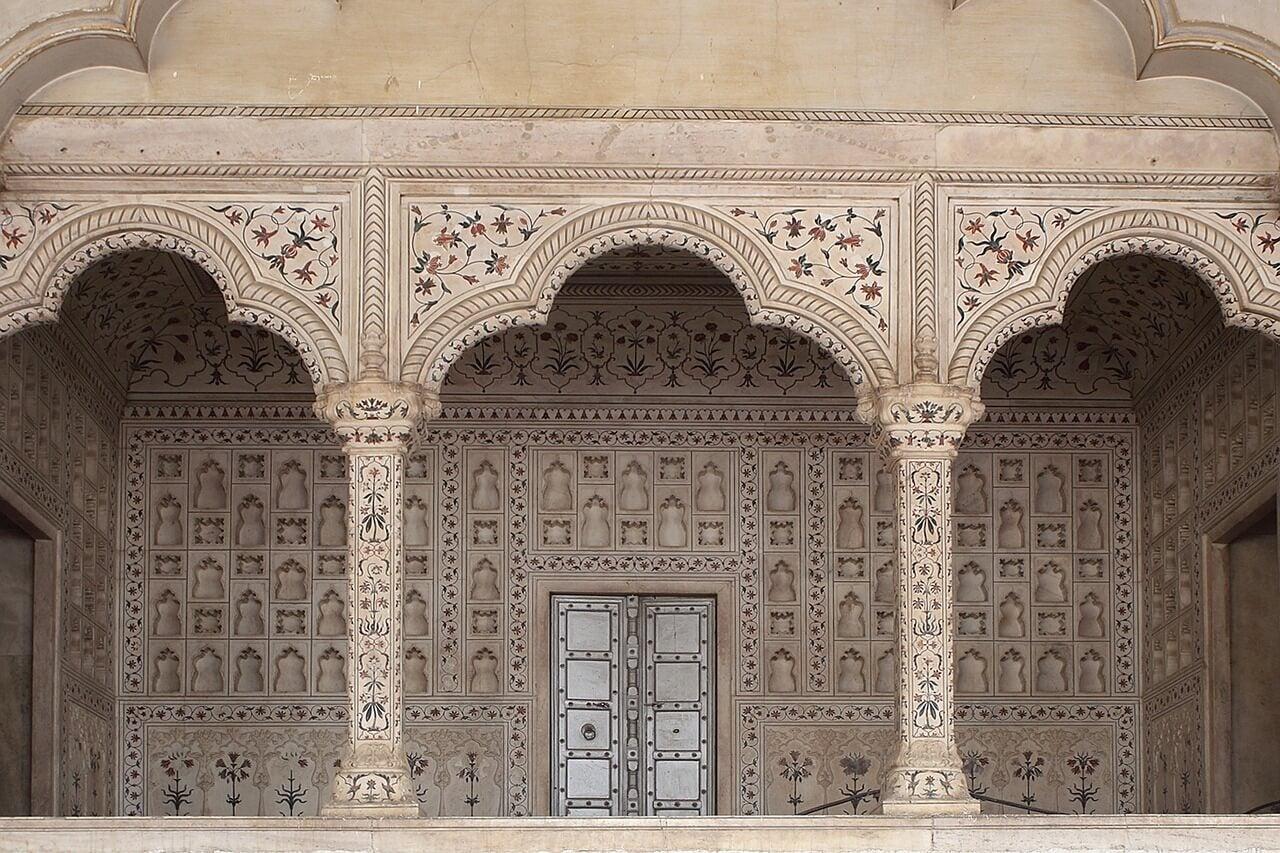 Detalle de las paredes del Taj Mahal