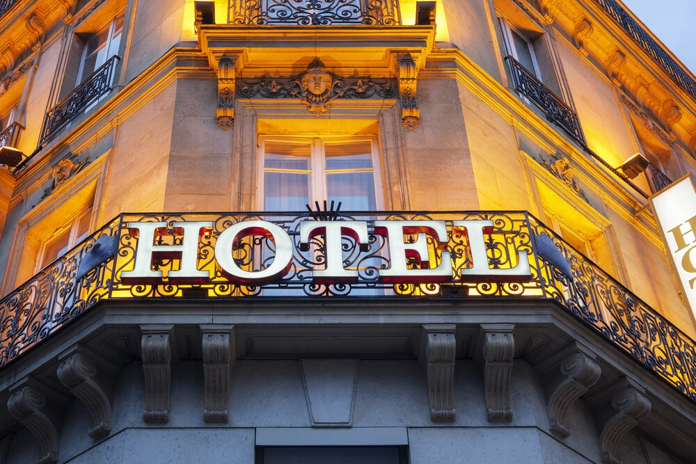 Cartel de un hotel