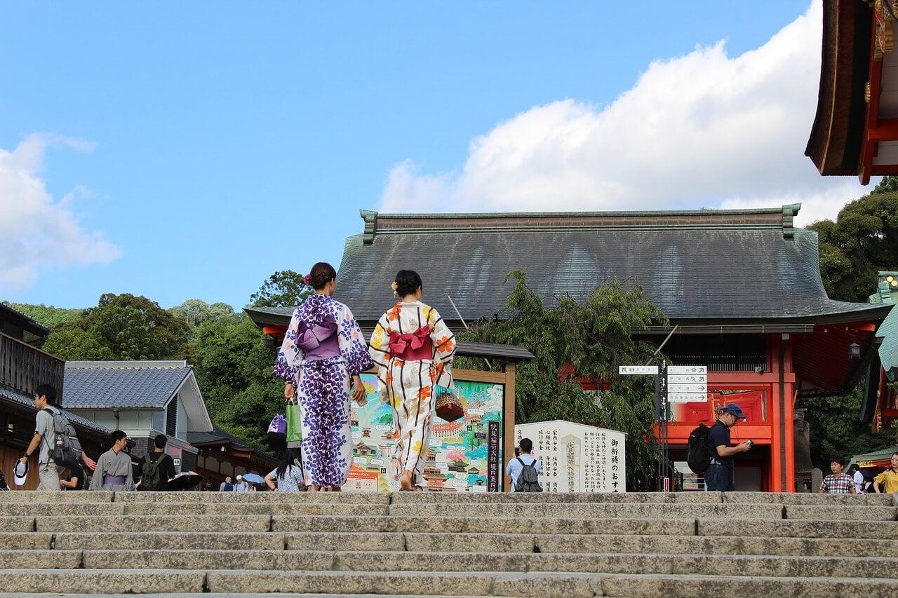 Mujeres con el vestido tradicional japonés