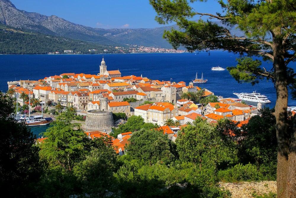 Vista de Korcula en Croacia