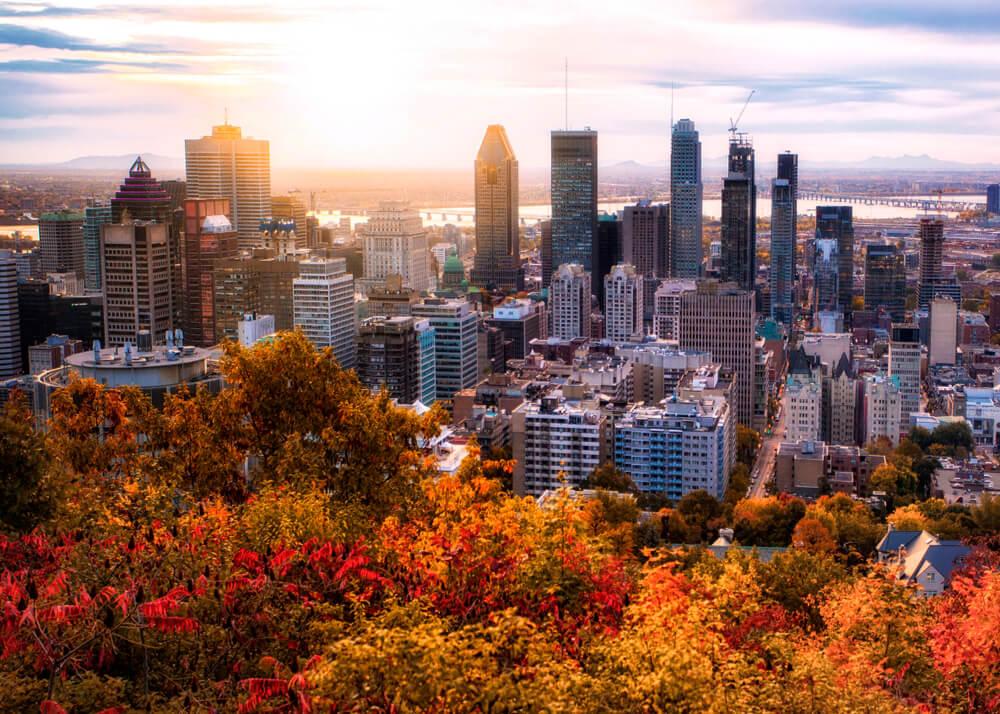 Vista de Montreal, una de las ciudades otoñales