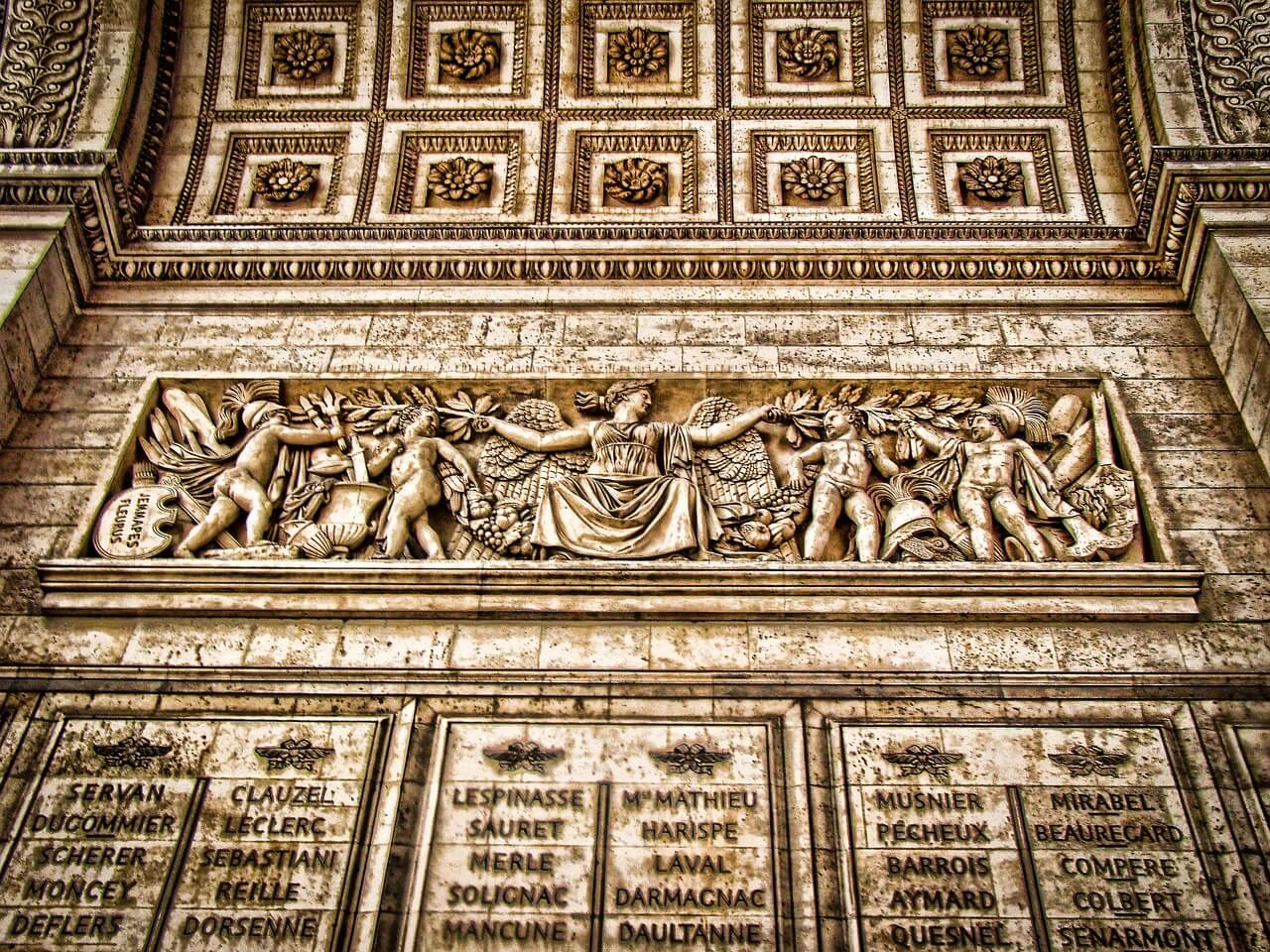 Inscripciones en el Arco del Triunfo en París
