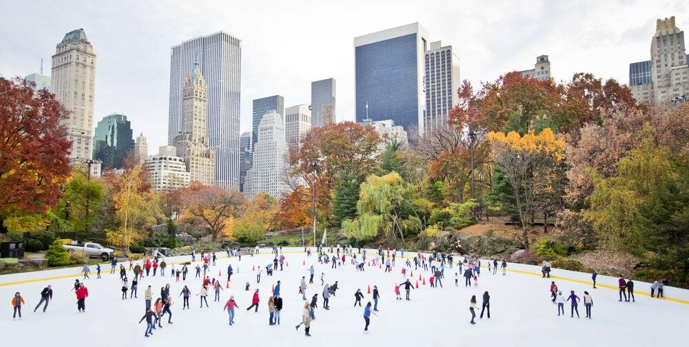 Pista de hielo en el Central Park de Nueva York