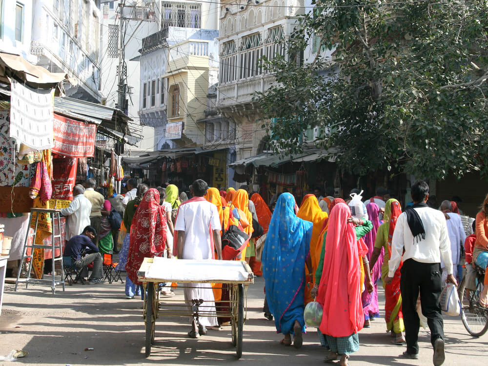 Calle de Pushkar en la India