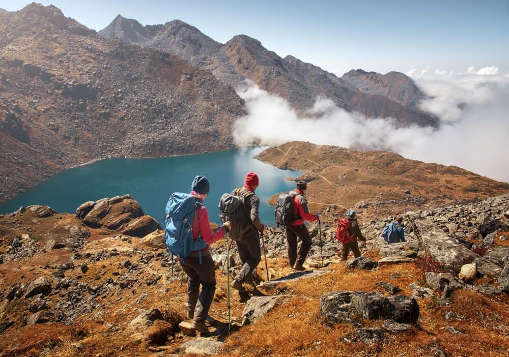 Senderistas en Langtan, Nepal