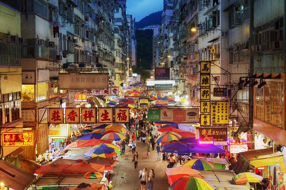 Mercado nocturno en Hong Kong