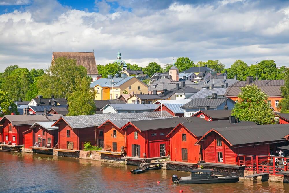 Casas típicas en Porvoo, Finlandia
