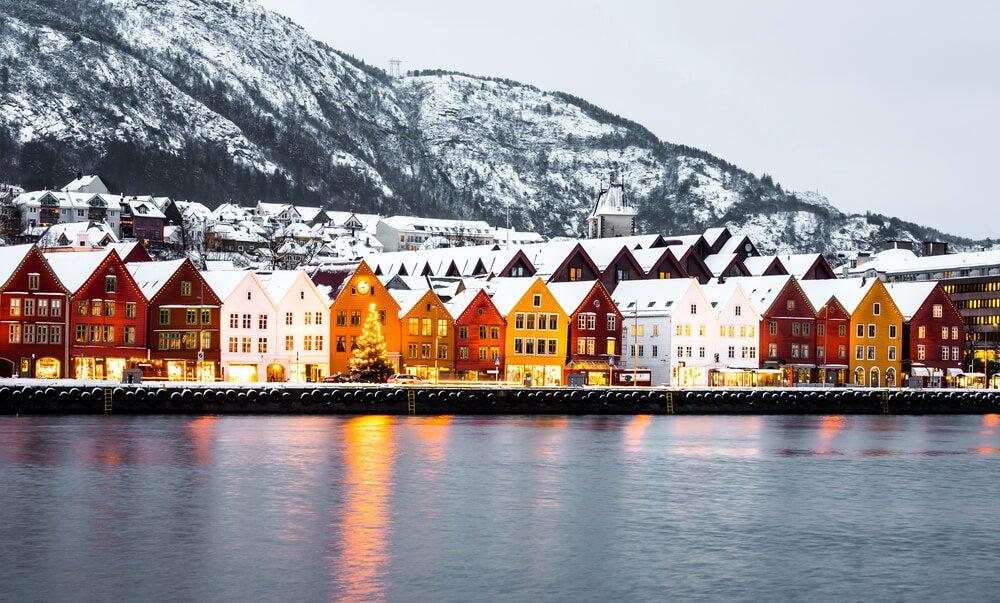 Vista de Bergen en Noruega