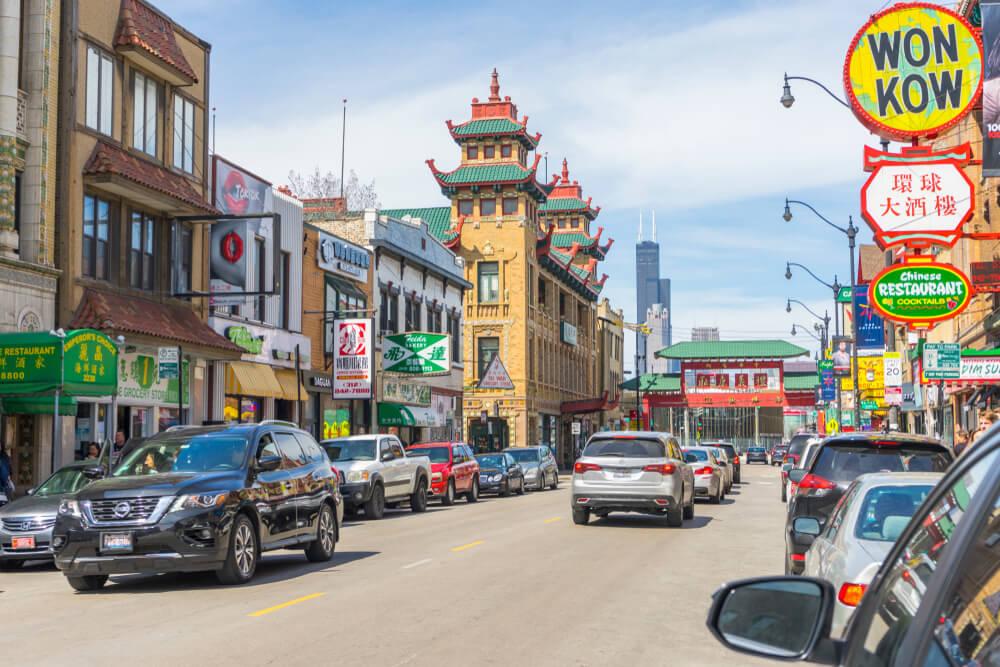 Calle de Chinatown en Downtown Chicago