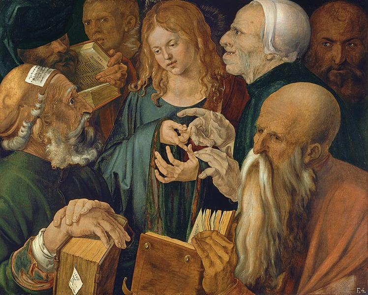 """Jesús entre los doctores"" de Durero, Museo Thyssen-Bornemisza"