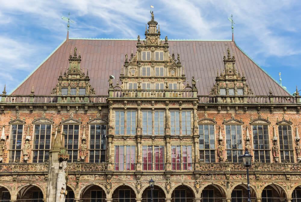 Fachada del ayuntamiento gótico de Bremen