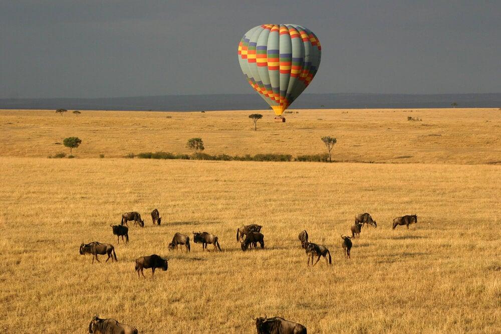 Globo sobre Masai Mara en Kenia