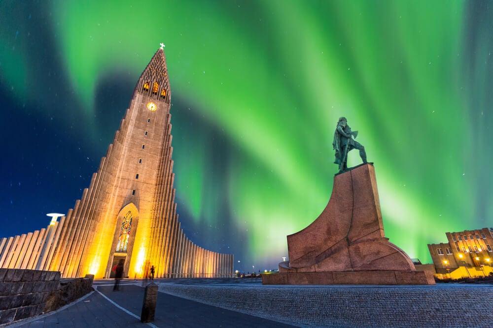 Vista de Reikiavik en invierno