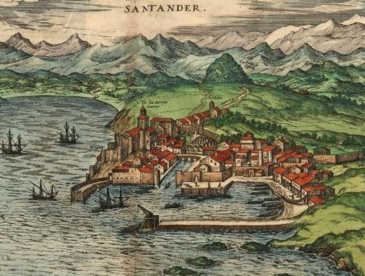 Dibujo de la capital de Cantabria en la Edad Media