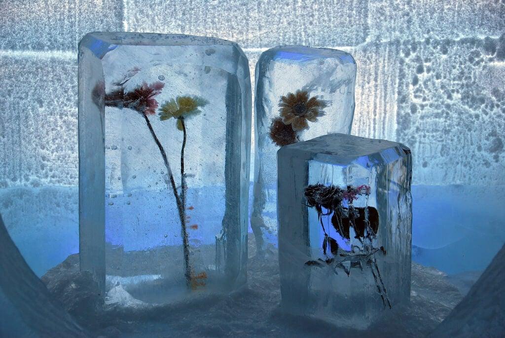 Decoración de un hotel de hielo en la Laponia noruega