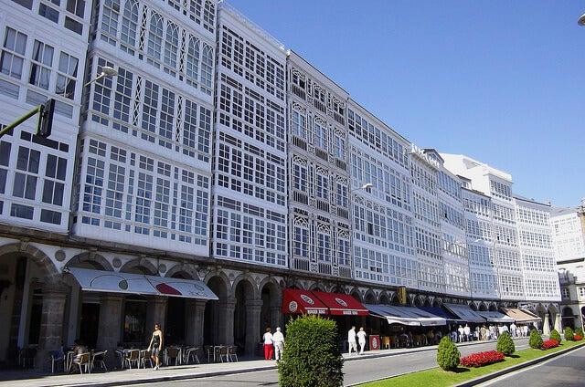Galerías acristaladas en la ciudad de A Coruña