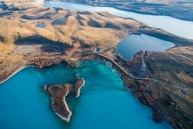 Vista aérea de Lago Tekapo