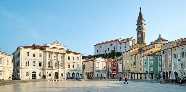 Vista de la ciudad de Piran en Eslovenia