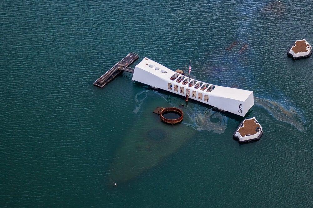Vista aérea del USS Arizona Memorial