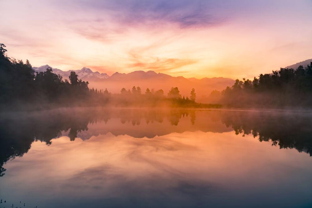 Atardecer en el lago Matheson