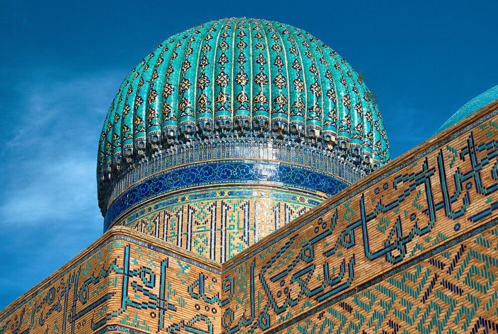 Detalle de la cúpula de la mezquita de Turkestán