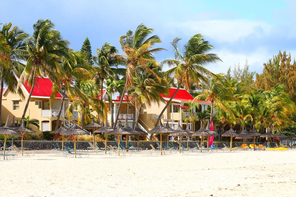 Casetas en la playa de Flic en Flac