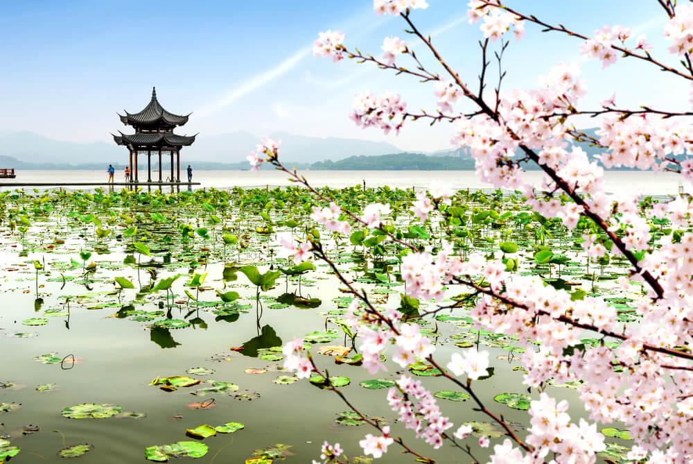 Vista del Lago del Oeste de Hangzhou