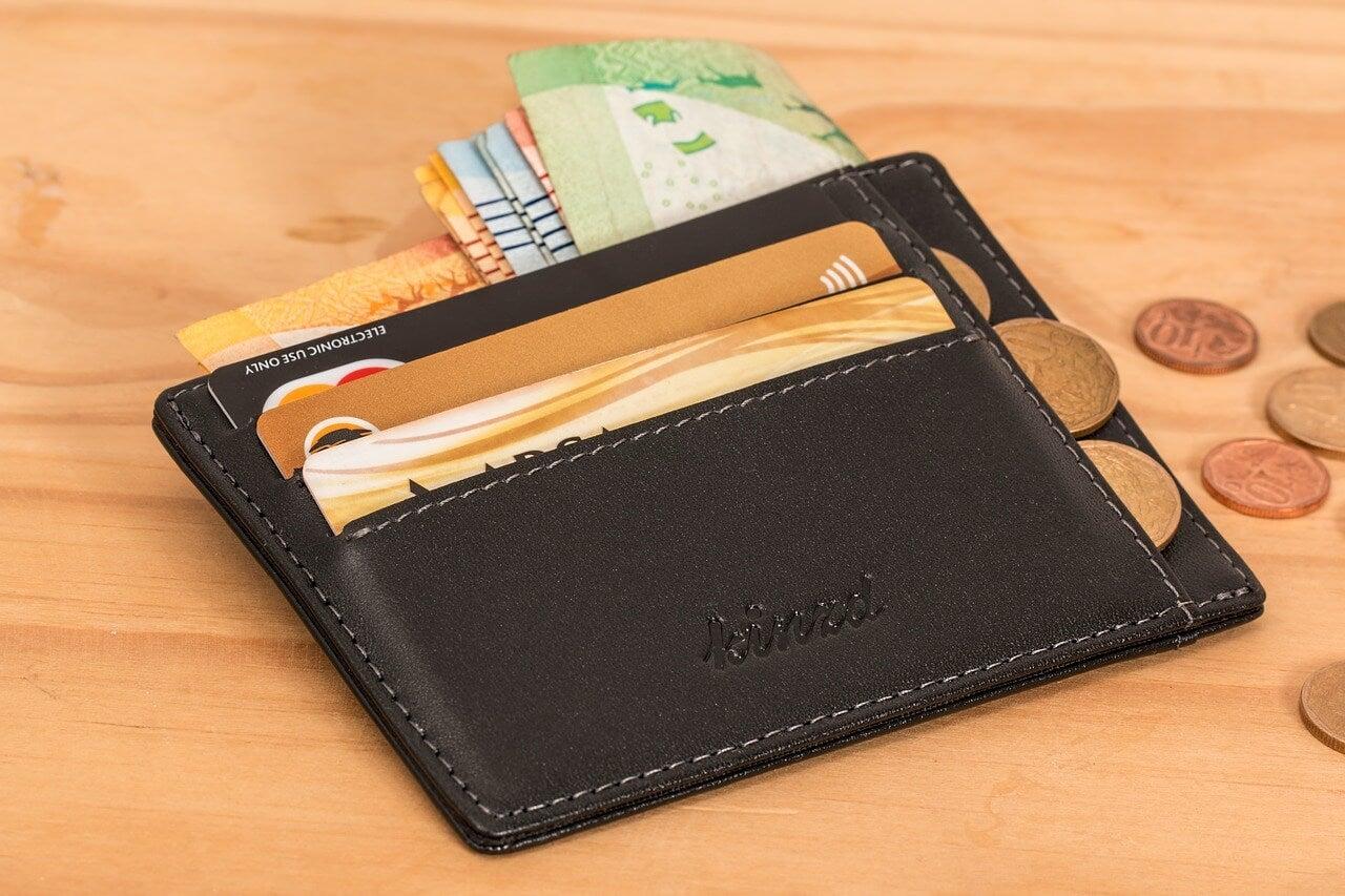 Monedero con tarjetas y dinero