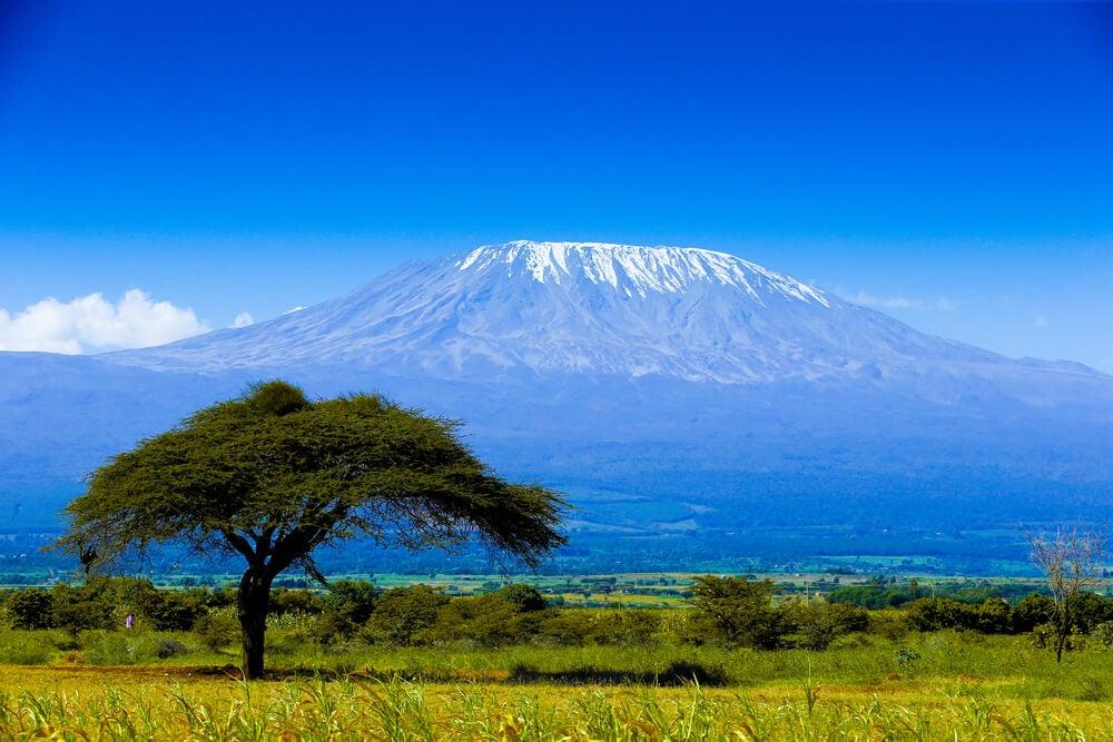 Vista del monte Kilimanjaro, uno de los volcanes más interesantes