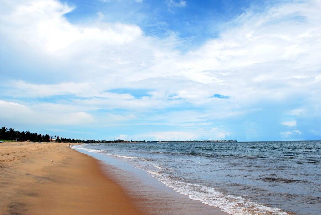 Playa de Negombo en la isla de Sri Lanka