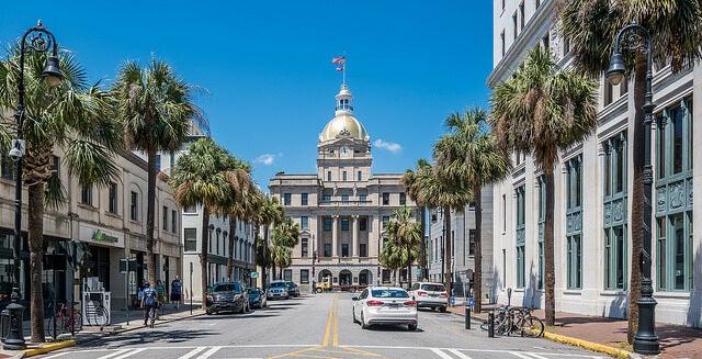 Vista de Savannah en Georgia