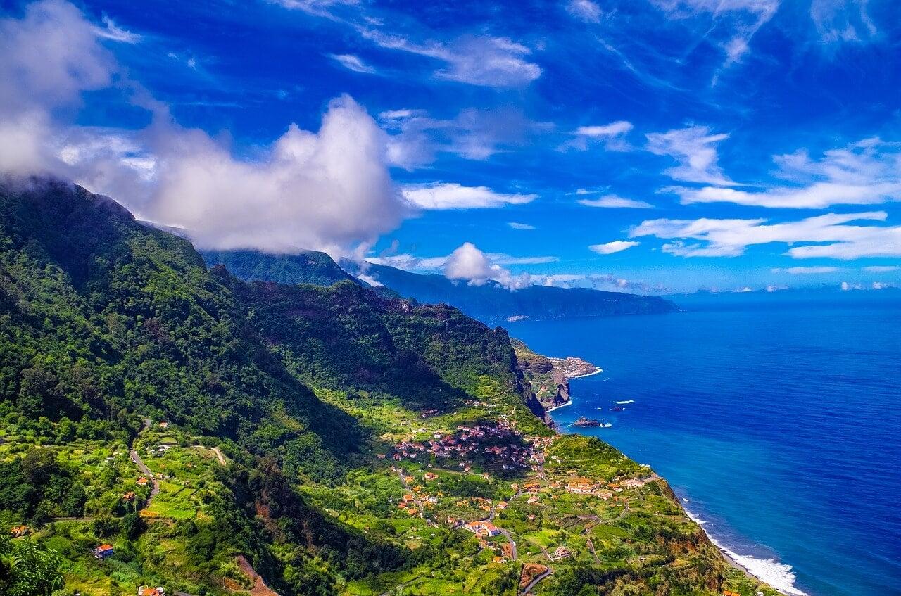 Vista de Madeira, la isla atlántica de Portugal