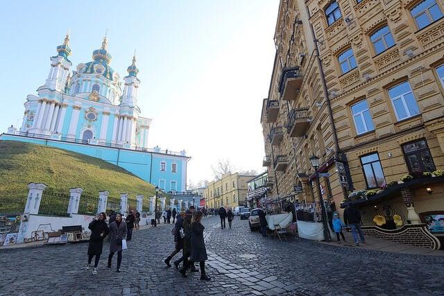 Andriyivskyy Descent en Kiev, Ucrania