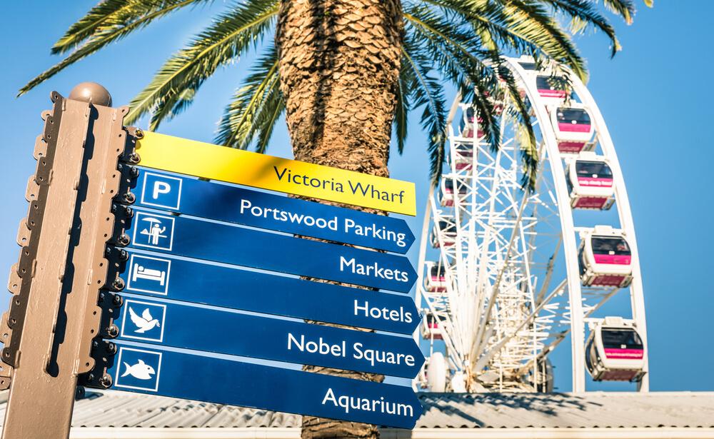 Cartel de atracciones en Waterfront