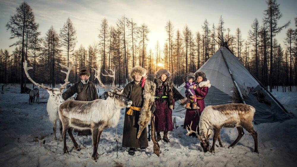 Familia tsaatan de Mongolia