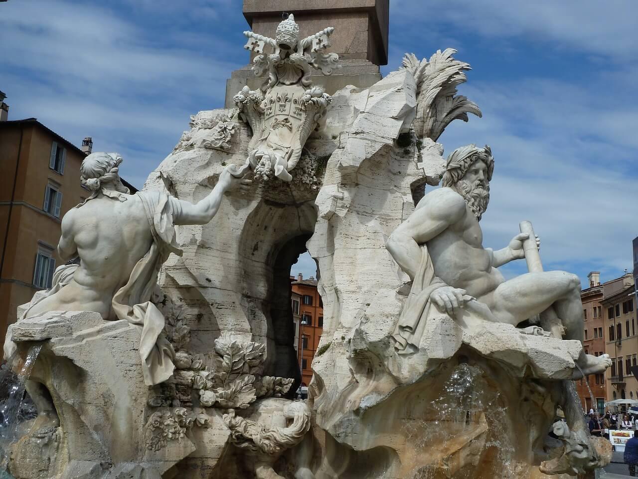 Detalle de la fuente de los Cuatro Ríos de Bernini
