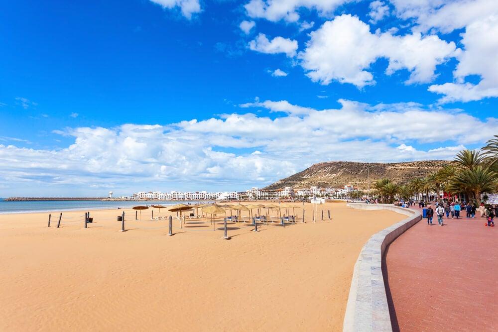 Vista de la playa de Agadir