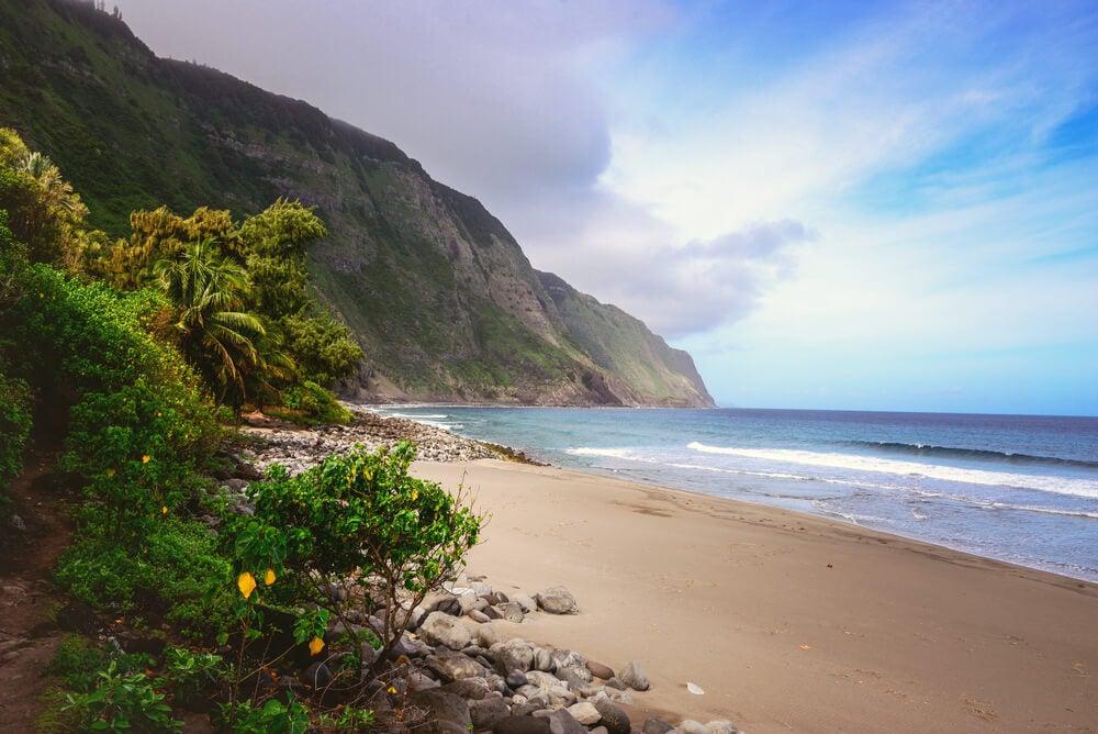 Playa en la península de Kalaupapa