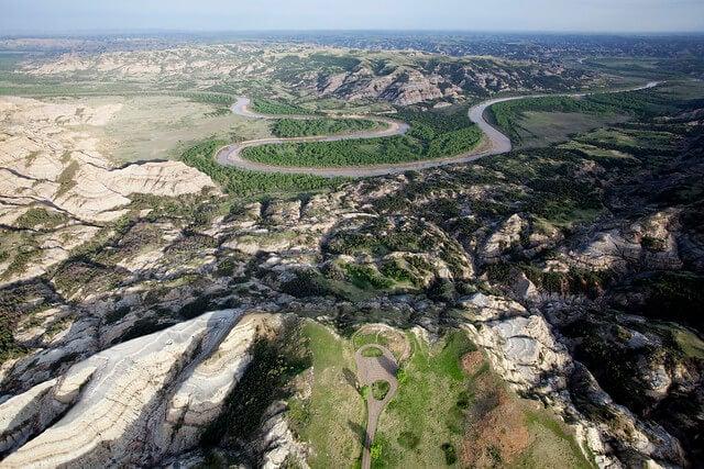 Vista aérea del Parque nacional Theodore Roosevelt