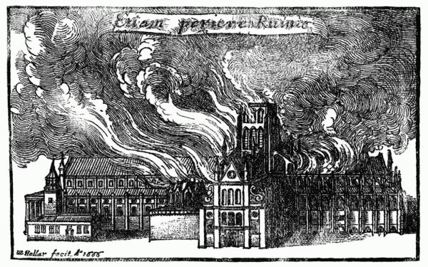 Grabado con la antigua catedral de San Pablo en llamas