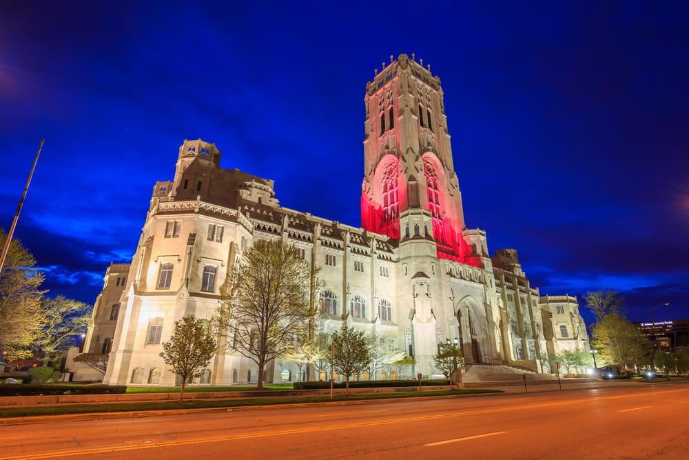 Catedral del Rito Escocés por la noche