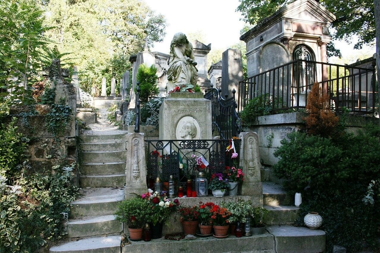 Tumba de Chopin en el cementerio Pere Lachaise de París