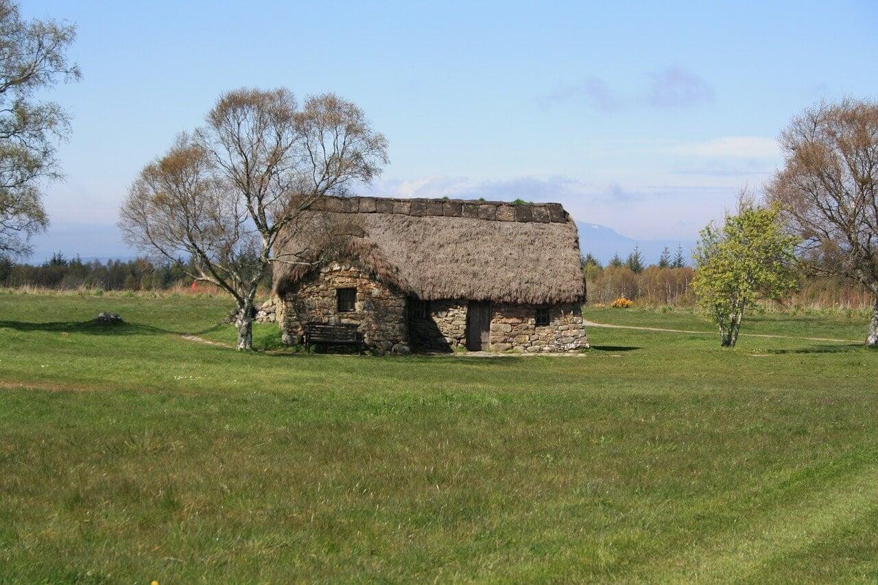 Leanach Cottage en el campo de batalla de Culloden