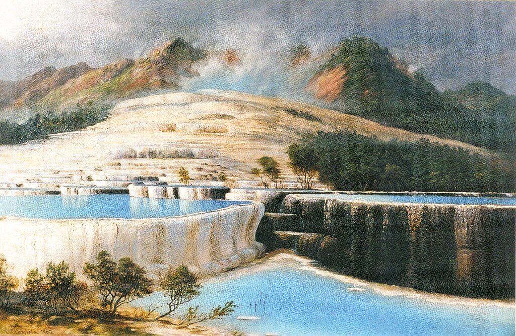 "Cuadro ""Las terrazas blancas, Rotomahana"", de Charles Blomfield"