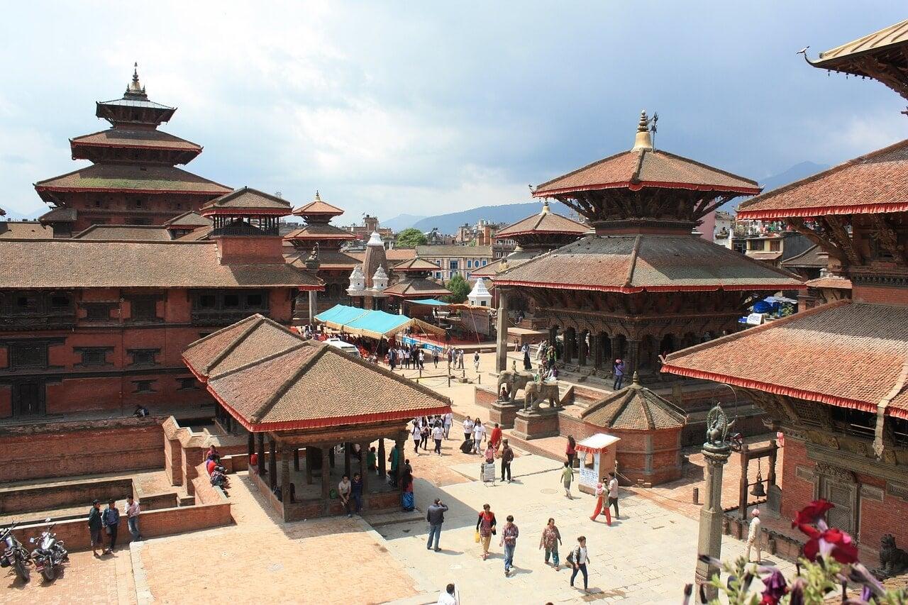Vista de la plaza Durbar en Katamandú en Nepal