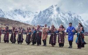 Celebración durante el Festival de Highlander en Bután.